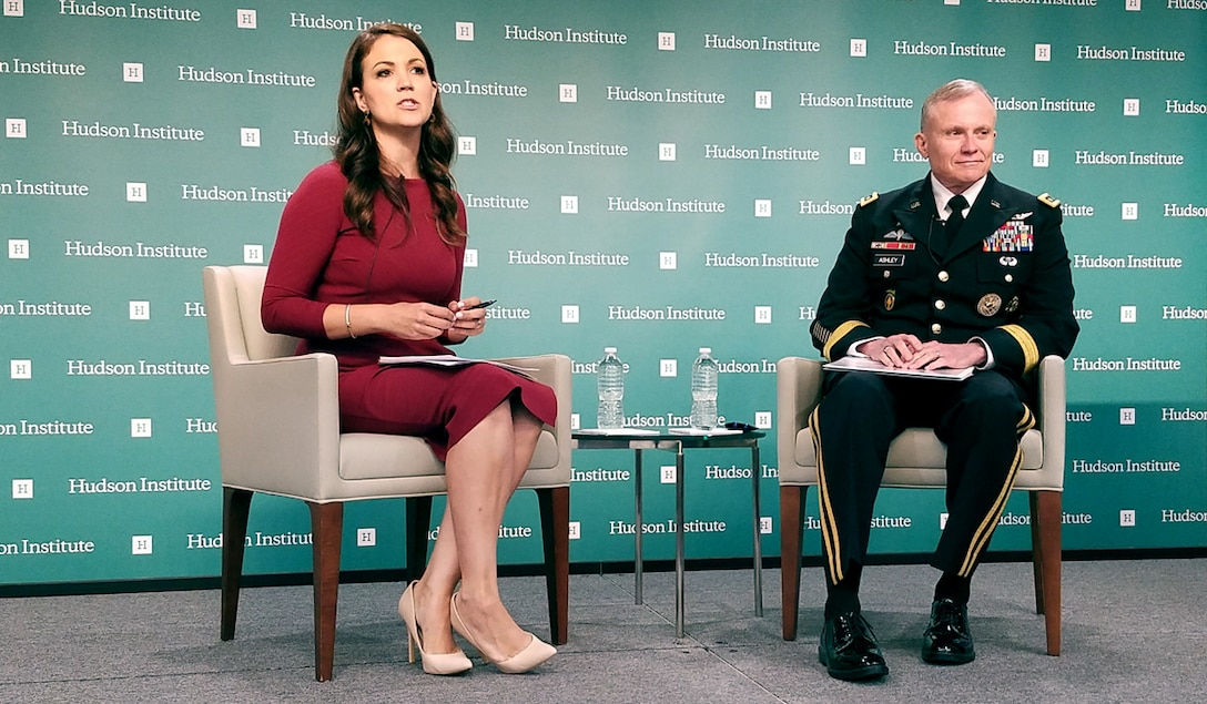 Hudson Senior Fellow Rebeccah Heinrichs and Lt. Gen. Robert P. Ashley Jr. field questions from the audience following the keynote address and discussion, May 29. (Photo courtesy of the Hudson Institute)