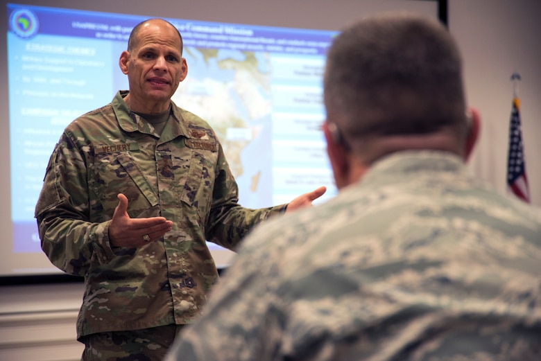 U.S. Air Force Lt. Gen. James C. Vechery, U.S. Africa Command deputy to the commander for military operations, speaks to attendees of the 2019 AFRICOM Command Surgeon Synchronization Conference in Stuttgart, Germany, May 28, 2019. Vechery spoke about utilizing the medical field for future engagements with African partner nations. (U.S. Navy photo by Mass Communication Specialist 1st Class Christopher Hurd)