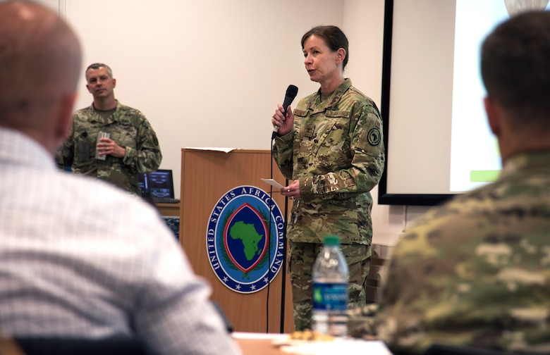 U.S. Air Force Col. Krystal Murphy, acting AFRICOM command surgeon, speaks to attendees of the 2019 U.S. Africa Command Command Surgeon Synchronization Conference in Stuttgart, Germany, May 28, 2019. Murphy talked about the importance of building relationships during the conference. (U.S. Navy photo by Mass Communication Specialist 1st Class Christopher Hurd)