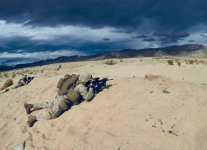The U.S. Marines of Company A, 1st Battalion, 4th Marines, 1st Marine Division (Rein), execute live-fire squad attacks at Range 108 at Marine Corps Air Ground Combat Center TwentyninePalms, California, Mar. 22nd, 2018. Range 108 is a squad fire and maneuver range that was used as Company A's culminating squad event of Talon Exercise 2-18. Talon Exercise is a Service Level Training Exercise held twice annually with an infantry battalion training in conjunction with Weapons and Tactics Squadron 1 both at TwentyninePalms and at Marine Corps Air Station, Yuma, Arizona.