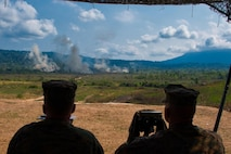U.S. Marines of Weapons Company, 1st Battalion, 4th Marines, 1st Marine Regiment, coordinate and observe indirect fires in Thailand in support of COBRA GOLD 2019 on Feb 19, 2019. COBRA GOLD is an annual bi-lateral training exercise conducted with the Royal Thai Marine Corps that strengthens bonds with a key allied partner in the Indo-Pacific region while solidifying the ability to execute combined arms as a bi-lateral force. (U.S. Marine Corps photo by Sgt. Jiro Ackart/Released)