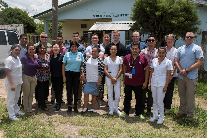 Medical personnel from Joint Task Force – Bravo pose with local medical practitioners after completing a Pediatric Medical Readiness Training Exercise May 23, 2019 in La Paz, Honduras. MEDRET missions allow JTF-B medical personnel to train in their areas of expertise, while providing a service and strengthening partnership with the host nation. The service members saw approximately 120 patients during the mission. (U.S. Air Force photo by Staff Sgt. Eric Summers Jr.)