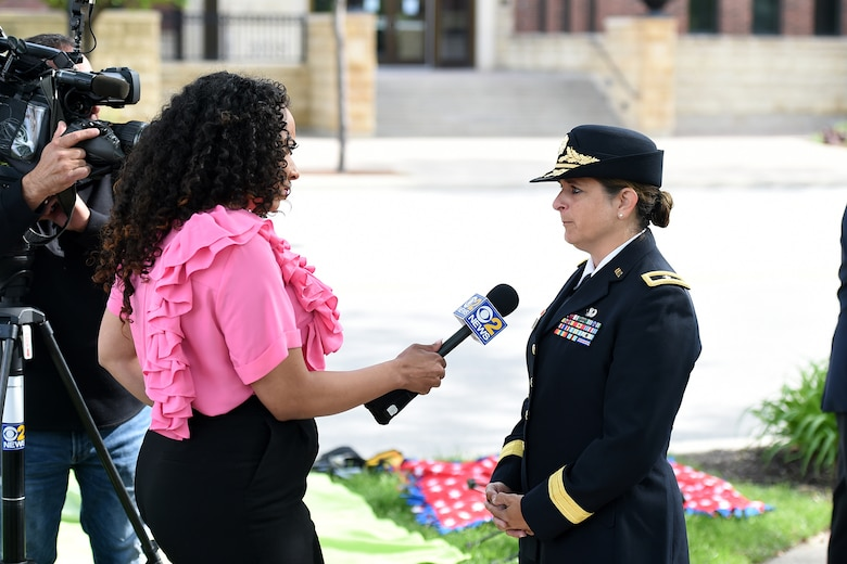 Memorial Day during an interview with CBS Channel 2 News during the Village of Arlington Heights Memorial Day commemoration, Mar. 27, 2019.