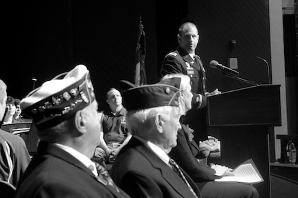 Col. Daniel Jaquint, 85th U.S. Army Reserve Support Command gives remarks during the Highland Park Memorial Day commemoration, Mar. 27, 2019.