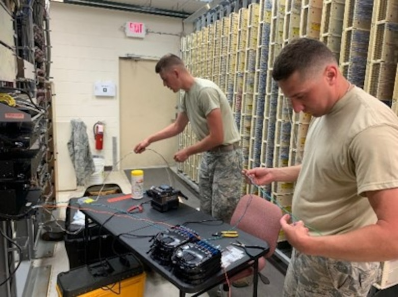 210th Engineering Installation Squadron Airmen from the Minnesota Air National Guard work on a cable installation project at Patrick Air Force Base on Feb. 21, 2019. (Courtesy photo)