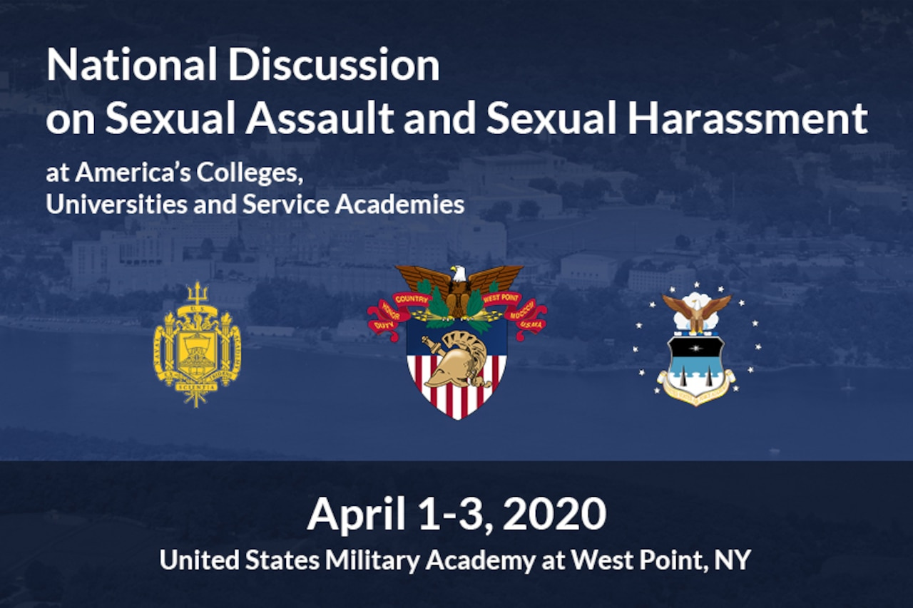 A graphic showing the words National Discussion on Sexual Assault and Sexual Harassment and the dates April 1-3, 2020.