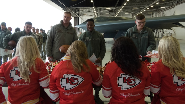National Football League's Kansas City Chiefs cheerleaders take time to meet with fans and sign autographs following a B-2 Spirit tour at Whiteman Air Force Base, Missouri, Oct. 29, 2019.