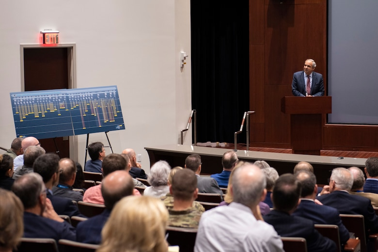 """Dr. Richard J. Joseph, Air Force Chief Scientist, delivers his keynote address to attendees of the 2019 Research and Development Roadmap Forum hosted by the Air Force Technical Applications Center, Patrick AFB, Fla., Oct. 22.  Joseph touted AFTAC's importance to R&D during his remarks: """"This center is a shining example of what science and technology means for the Air Force."""" (U.S. Air Force photo by Matthew S. Jurgens)"""