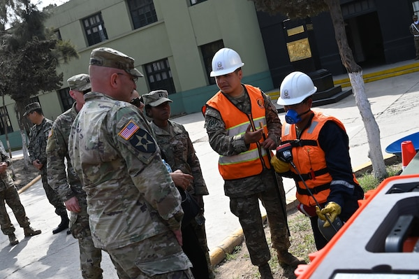 West Virginia National Guard and Peruvian Army experts discuss logistics and natural disaster planning and response in Lima, Peru, Oct. 15-17, 2019. Col. Davis Shafer and Capt. Caroline Muriama, WVNG, learn about search and rescue tools at the multipurpose brigade in Lima.