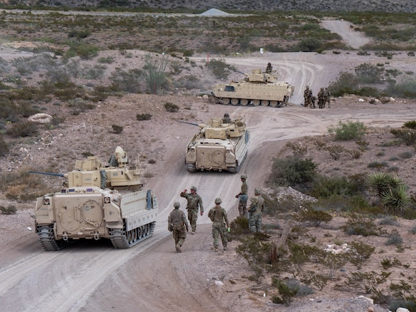 U.S. Soldiers with the 4-118th Infantry Regiment, 30th Armored Brigade Combat Team, North Carolina Army National Guard (attached to the 218th Maneuver Enhancement Brigade, South Carolina Army National Guard) conduct gunnery training with the M2A2 Bradley Fighting Vehicle at Fort Bliss, Texas in September 2019.  The 30th Armored Brigade Combat Team is mobilized for Operation Spartan Shield in the Middle East and comprised of units from the North Carolina, South Carolina, Ohio and West Virginia Army National Guard. (U.S. Army National Guard photo by Maj. David House)