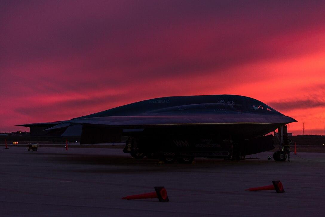 A B-2 Spirit sits on the flight line