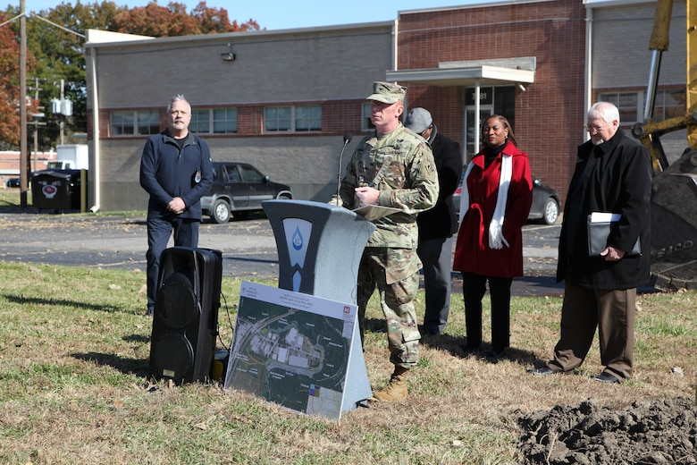 The speakers at the ceremony November 1, 2019, broke the ground at Swope Park Industrial Area. At the podium, Col. Bill Hannan, commander of the Kansas City District, U.S. Army Corps of Engineers.