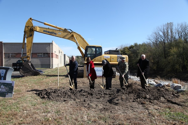The speakers at the ceremony November 1, 2019, broke the ground at Swope Park Industrial Area. From left to right: Charlie Livers, president of Livers Bronze and representing member of the Swope Park Industrial Business Association; Councilwoman Ryana Parks-Shaw, 5th Council District; Councilman Lee Barnes, 5th Council District; Col. Bill Hannan, commander of the Kansas City District, U.S. Army Corps of Engineers and Terry Leeds, director of KC Water.