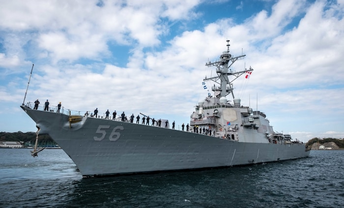 The USS John S. McCain departs Fleet Activities Yokosuka to conduct comprehensive at-sea testing.