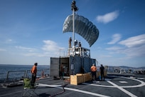 The Arleigh Burke-class guided-missile destroyer USS Porter (DDG 78) launches Towed Airborne Lift of Naval Systems (TALONS) during Exercise Recognised Environmental Picture by Maritime Unmanned Systems REP (MUS) 2019 in the Atlantic Ocean Sept. 13, 2019. REP (MUS) 2019 is a multinational unmanned underwater vehicle exercise hosted by the Portuguese Navy and is aimed at enhancing working relationships with NATO and participating international partners. This is the U.S.'s first participation in the REP (MUS) exercise series. (U.S. Navy photo by Mass Communication Specialist 3rd Class T. Logan Keown/Released)