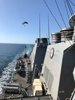 The Navy's Towed Airborne Lift of Naval Systems (TALONS) flies behind the Arleigh Burke-class guided-missile destroyer USS Porter (DDG 78) during NATO Exercise Recognised Environmental Picture by Maritime Unmanned Systems 2019 in the Atlantic Ocean Sept. 14, 2019. (U.S. Navy photo by Eric Silberg/Released)