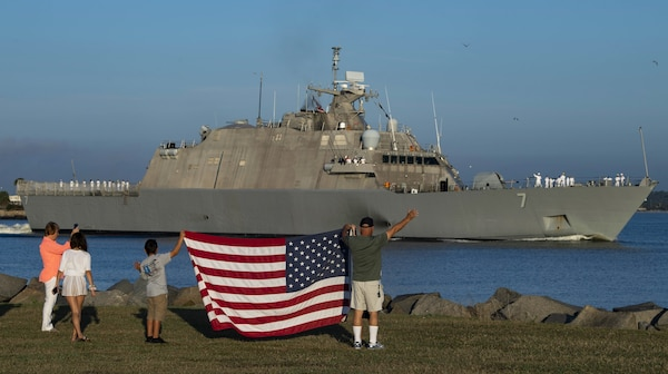 he Freedom-variant littoral combat ship USS Detroit departs Naval Station Mayport for a scheduled deployment.