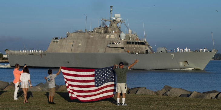 USS Detroit (LCS 7) departs Naval Station Mayport for a scheduled deployment.