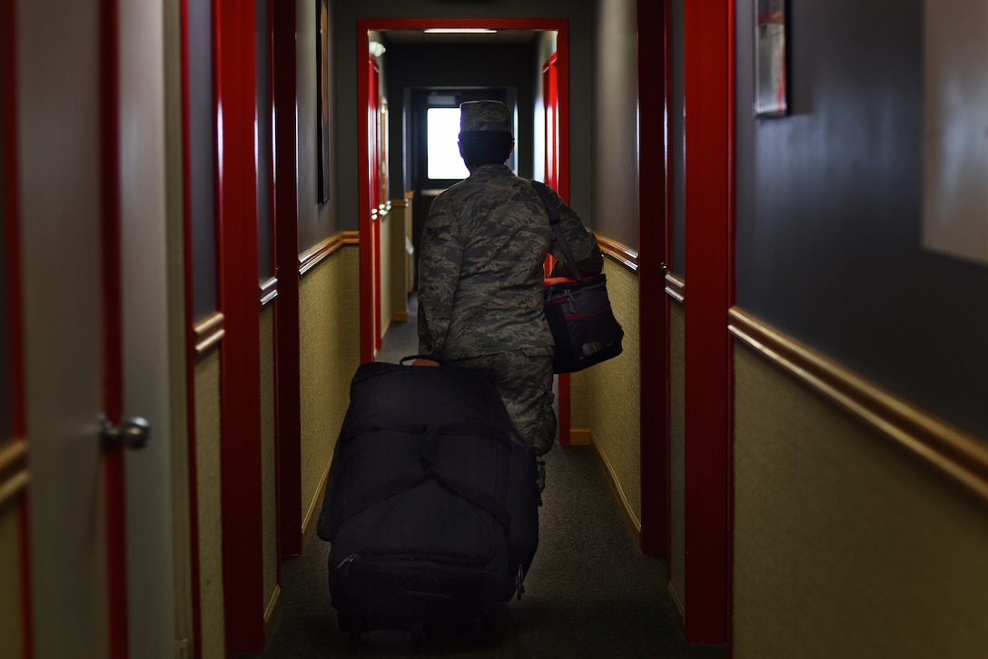 Airman 1st Class Victoria Camargo, 341st Force Support Squadron missile chef, walks toward her living quarters at a missile alert facility Oct. 18, 2019, near Malmstrom Air Force Base, Montana.