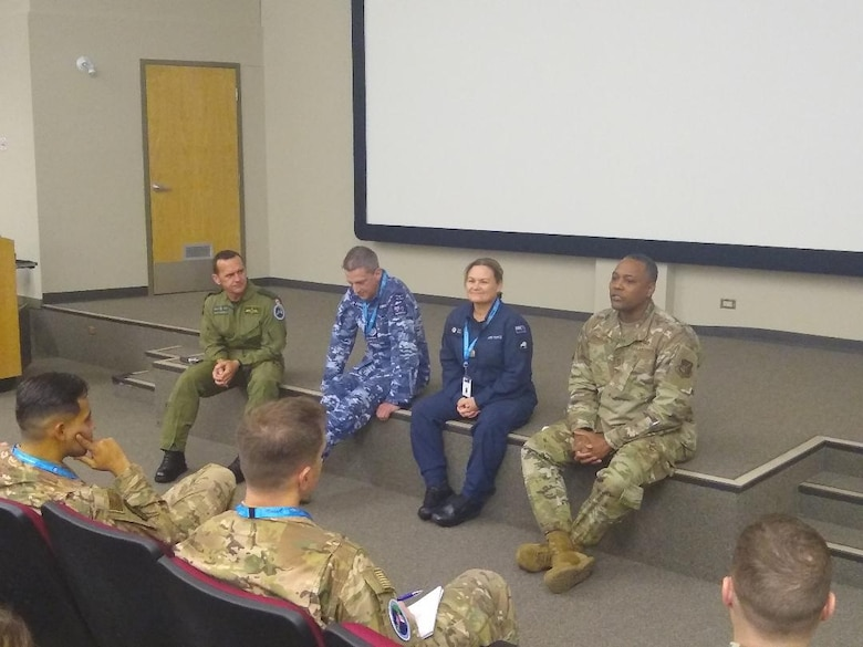 Senior enlisted leaders talk with Airmen from eight nations during the Junior Enlisted Leadership Forum at the 17 Wing, Winnipeg, Canada, Oct. 21 – 25, 2019. The JELF is designed to inform junior Non-Commissioned Officers about professional development strategies to grow them into tomorrow's senior enlisted leaders. Discussion topics included resiliency, culture, ethics, and the complexity of the geopolitical environment. (Courtesy photo)