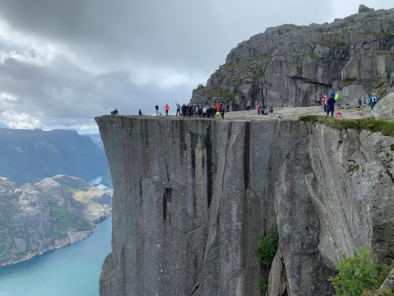 The 426th Air Base Squadron participated in a resiliency hike to Preikestolen—the Pulpit Rock.  Preikestolen is a local geologic feature that rises 1,981 feet above the Lysefjord. (U.S. Air Force Courtesy Photo)