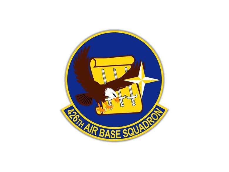 The shield of the 426th Air Base Squadron includes several elements of special significance.  The Eagle is a symbol of our nation, the United States of America.  The compass rose is the symbol of the North Atlantic Treaty Organization; the United States and Norway are founding members of the 29-member Alliance.  The three swords represent the Sverd i fjell, a local monument on the shore of the Hafjrsfjord where in the year 872 following the Battle of Hafjrsfjord, Harald håfagre united all of Norway as one Kingdom. (Courtesy photo)