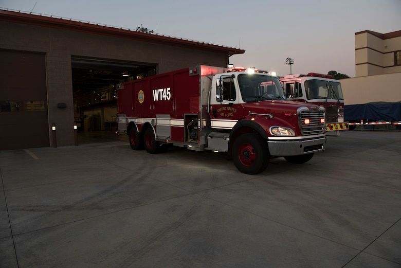 A 4,000 gallon water tender assigned to the 60th Civil Engineer Squadron Fire and Emergency Services flight undergoes an inspection Oct. 29, 2019, at Travis Air Force Base, California. The FES team provides emergency response support at Travis AFB and across Solano County. (U.S. Air Force photo by Tech. Sgt. James Hodgman)