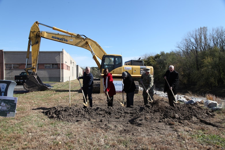 The speakers at the ceremony November 1, 2019, broke the ground at Swope Park Industrial Area. From left to right: Charlie Livers, president of Livers Bronze and representing member of the Swope Park Industrial Business Association; Councilwoman Ryana Parks-Shaw, 5th Council District; Councilman Lee Barnes, 5th Council District; Col. Bill Hannan, commander of the Kansas City District, U.S. Army Corps of Engineers and Ed Beecher, project manager for Medvolt Construction Services.