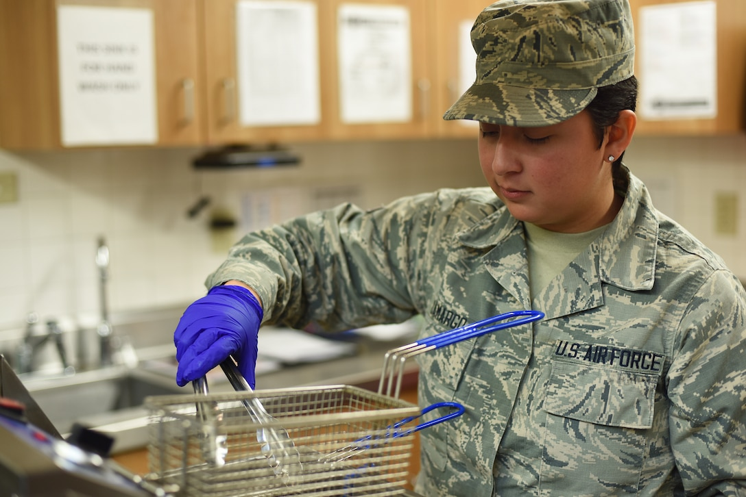 Airman 1st Class Victoria Camargo, 341st Force Support Squadron missile chef, prepares food at a missile alert facility Oct. 18, 2019, near Malmstrom Air Force Base, Montana.