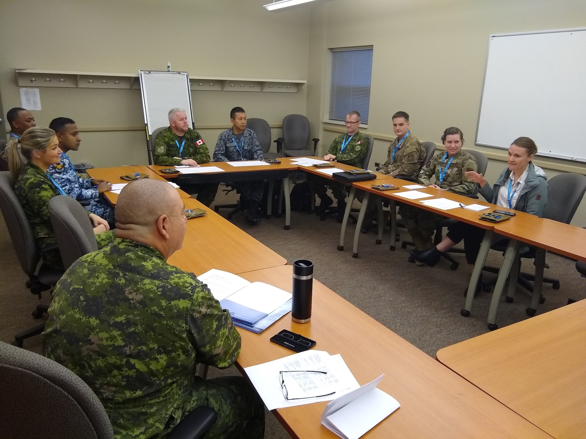 Pacific Air Forces Airmen participate in a group activity during the Junior Enlisted Leadership Forum at the 17 Wing, Winnipeg, Canada, Oct. 21 – 25, 2019. Discussion topics included resiliency, culture, ethics, and the complexity of the geopolitical environment. (Courtesy photo)