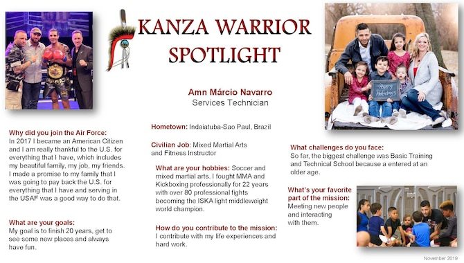 Airman B Márcio Navarro, 931st Force Support Squadron Services technician, is this month's KANZA Warrior Spotlight.