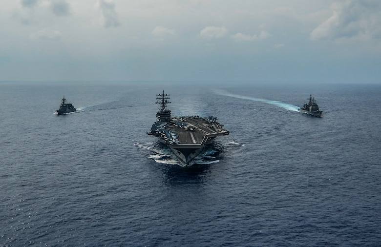 191027-N-KP021-0898 PHILIPPINE SEA (Oct. 27, 2019) The aircraft carrier USS Ronald Reagan (CVN 76), the Ticonderoga class guided-missile cruiser USS Chancellorsville (CG 62) and the Akizuki-class destroyer JS Fuyuzuki (DD 118) from the Japan Maritime Self Defense Force sail in formation while conducting a bilateral exercise. Ronald Reagan and Chancellorsville and forward-deployed to the U.S. 7th Fleet area of operations in support of security and stability in the Indo-Pacific region.