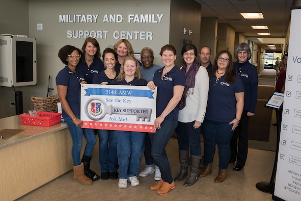 Key Spouses of the 514th Air Mobility Wing, Joint Base McGuire-Dix-Lakehurst, N.J. pose for a photo at the Military and Family Support Center, here, Nov. 2, 2019. The U.S. Air Force Key Spouse Program is an official Air Force Unit Family Readiness Program designed to enhance readiness, personal/family resiliency and establish a sense of Air Force community. The goal of the KSP is to have a cadre of trained volunteers who can support your military families in an official capacity. (U.S. Air Force photo by Senior Airman Ruben Rios)