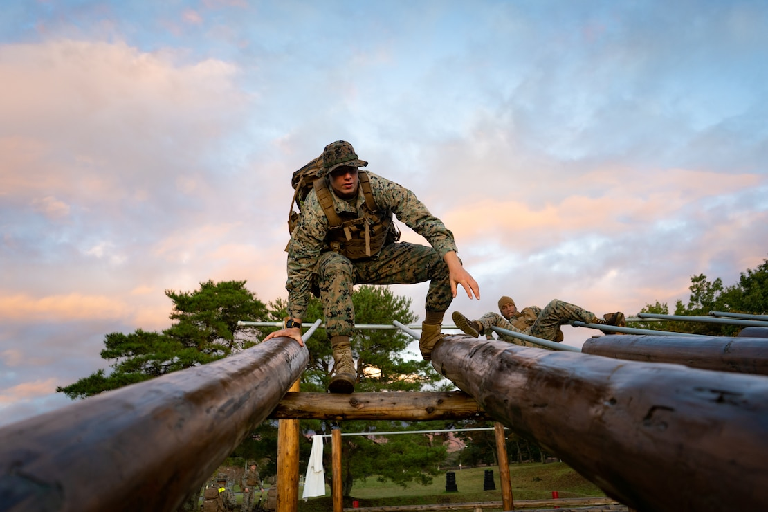 U.S. Marine Cpl. Jeffrey Wik runs through the obstacle course during a fire team competition as part of exercise Fuji Viper 20-1 on Camp Fuji, Japan, Oct. 30, 2019. Fuji Viper is a regularly scheduled training evolution for infantry units assigned to 3rd Marine Division as part of the unit deployment program. The training allows units to maintain their lethality and proficiency in infantry and combined arms tactics. Wik is assigned to 4th Marine Regiment, 3rd Marine Division, and a native of Naperville, Ill.
