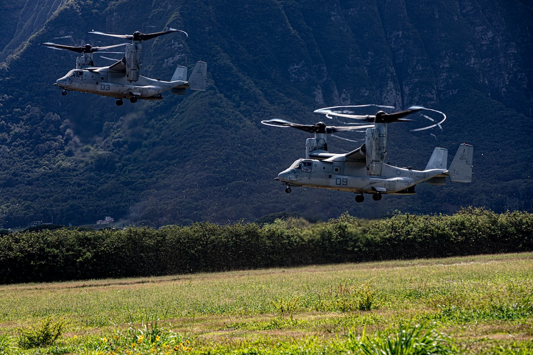 U.S. Marine Corps MV-22B Ospreys assigned to Medium Tiltrotor Squadron 268 land at Marine Corps Training Area Bellows in support ofcherry picker drills conducted by Combat Assault Company, 3rd Marine Regiment, Oct. 31, 2019. The training consisted of patrols, cherry picker drills, and Military Operation in Urban Terrain Training.