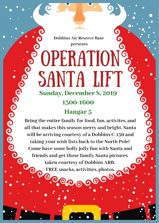 Operation Santa Lift 2019 is currently scheduled for Sunday, Dec. 8, 2019 here at Hangar 5 from 1 pm - 4 pm. (Courtesy graphic)