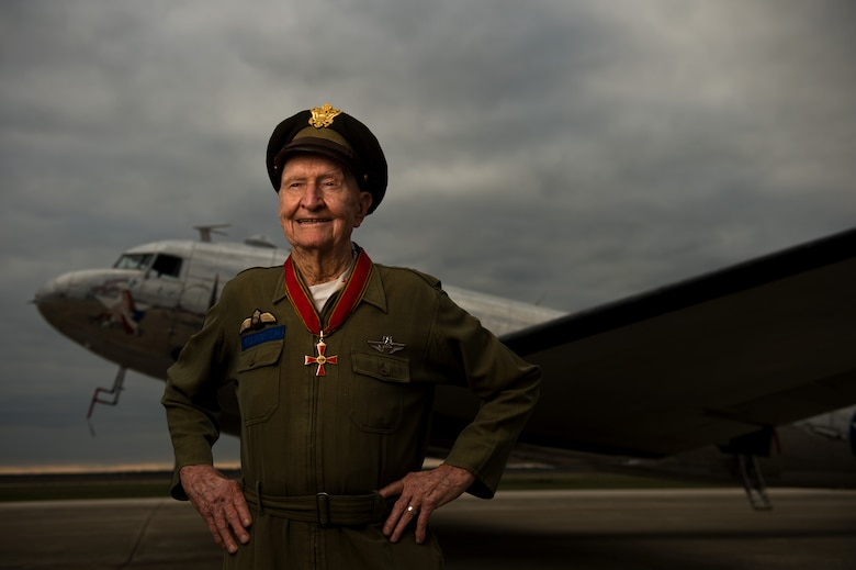 Retired Col. Gail Halvorsen poses for a photo during a Veterans Day event at Hondo Municipal Airport, Texas, Nov. 9, 2013. Halvorsen was called the