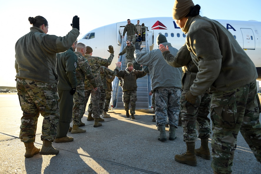 Airmen from the active duty 388th and Reserve 419th Fighter Wings return home on Nov. 1, 2019, following a six-month deployment to Al-Dhafra Air Base, United Arab Emirates. The 4th Fighter Squadron's deployment was the first F-35A Lightning II combat deployment. The Airmen supported the United States Air Force Central Command Mission in Region. (U.S. Air Force photo by R. Nial Bradshaw)