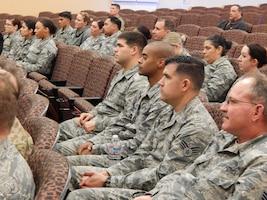 Beale AFB at the base theater was the location for all reservists to take part in listening to Chief Kelly speak on leadership.