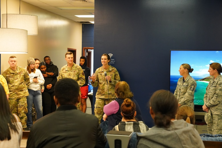 U.S Air Force Col. Heather Blackwell, 81st Training Wing commander, gives remarks during the opening of The Lighthouse inside the Larcher Chapel at Keesler Air Force Base, Mississippi, Nov. 1, 2019. The Lighthouse is a place dedicated to permanent party Airmen complete with gaming stations, massage chairs, a kitchen, and a music room. The idea of the lighthouse stemmed from a meeting Col. Heather Blackwell, 81st Training Wing commander, had with some of Keesler's dorm residents in August. (U.S Air Force photo by Airman 1st Class Spencer Tobler)