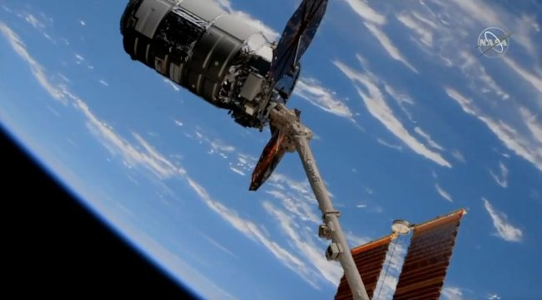 191104-F-ZZ999-0410: In this screen capture from NASA TV, Northrop Grumman's Cygnus NG-12 cargo ship, S.S. Alan Bean, arrives at the International Space Station Nov. 4 as the unpiloted spacecraft orbits above Madagascar. The commercial space resupply mission is delivering more than 4 tons of supplies, including two Aerospace Rogue Alpha and Beta cubesats that were built for the Air Force's Space and Missile Systems Center. (Image: NASA)