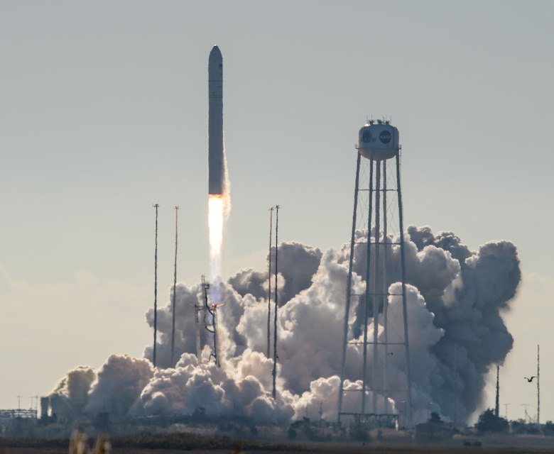 The Cygnus NG-12 cargo spacecraft, S.S. Alan Bean, launches from the Mid-Atlantic Regional Spaceport's Pad 0A at NASA's Wallops Flight Facility in Virginia aboard an upgraded Northrop Grumman Innovation Systems Antares 230+ rocket at 9:59 a.m. EDT Saturday, Nov. 2, 2019. On board the two-day flight to the International Space Station are the Aerospace Rogue Alpha/Beta Cubesats, which have officially achieved their priority mission of developing a small low Earth orbit constellation in just 18 months for the Space and Missile Systems Center Development Corps at Los Angeles Air Force Base in El Segundo, California. The cubesats will collect data on cloud backgrounds to inform future low Earth orbit missions. The Air Force will also utilize this program's data to investigate potential uses of the capability. (Image credit: Bill Ingalls/NASA)