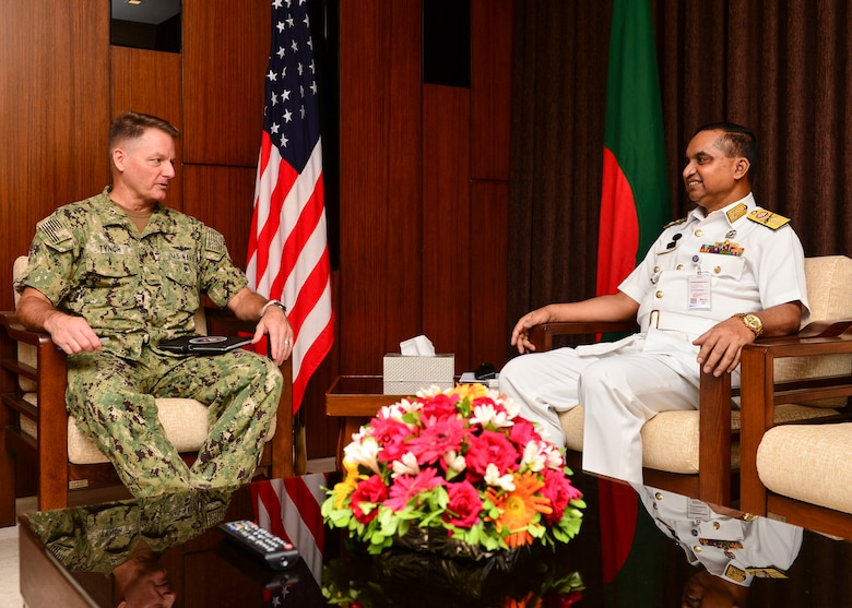 Chattogram, Bangladesh (Nov. 4, 2019) U.S. Navy Rear Adm. Joey Tynch, commander, Logistics Group Western Pacific, speaks with Rear Adm. M Makbul Hossain NBP, OSP, BCGMS, ndu, psc, Assistant Chief of Naval Staff Operations, during an office call in support of Cooperation Afloat Readiness and Training (CARAT) Bangladesh 2019. This year marks the 25th iteration of CARAT, a multinational exercise designed to enhance U.S. and partner navies' abilities to operate together in response to traditional and non-traditional maritime security challenges in the Indo-Pacific region.