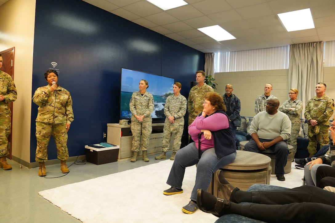 U.S Air Force Chaplain (Col.) Donnette Boyd, 81st Training Wing chaplain, gives remarks during the opening of The Lighthouse inside the Larcher Chapel at Keesler Air Force Base, Mississippi, Nov. 1, 2019. The Lighthouse is a place dedicated to permanent party Airmen complete with gaming stations, massage chairs, a kitchen, and a music room. The idea of the lighthouse stemmed from a meeting Col. Heather Blackwell, 81st Training Wing commander, had with some of Keesler's dorm residents in August. (U.S Air Force photo by Airman 1st Class Spencer Tobler)