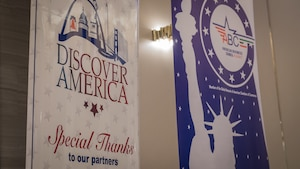 The Discover America and American Business Council - Kuwait banners are shown on display at the business speakers series seminar at the Hyatt Regency Hotel in Kuwait City, Nov. 4, 2019. (U.S. Air Force photo by Tech. Sgt. Daniel Martinez)