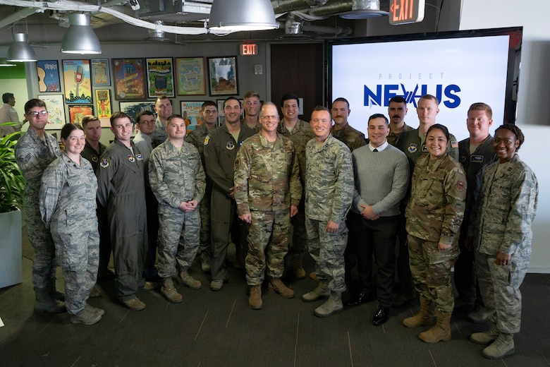 U.S. Air Force Maj. Gen. Mark Weatherington, Air Education and Training Command deputy commander, stands with the first class of the Project NEXUS program after their graduation ceremony Nov. 4, 2019, at the Capital Factory in Austin, Texas.  Designed by the AETC Integrated Technology Detachment and hosted by the AFWERX-Austin hub, the beta test program was designed to fuel organic technology problem solving efforts for Airmen in their day-to-day workplaces. (U.S. Air Force photo / Staff Sgt. Jordyn Fetter)