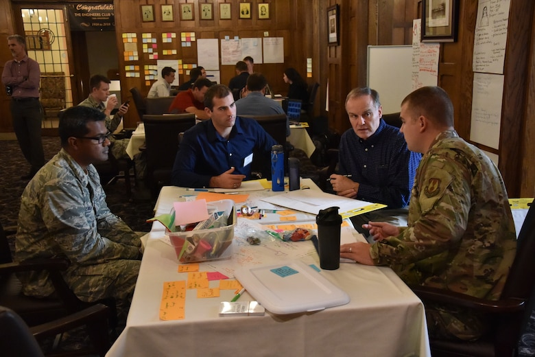 AFRL personnel from the Materials and Manufacturing, Aerospace Systems, and Personnel Directorate recently participated in a course on creativity for problem solving to enhance thought processes. (U.S. Air Force photo/Spencer Deer)