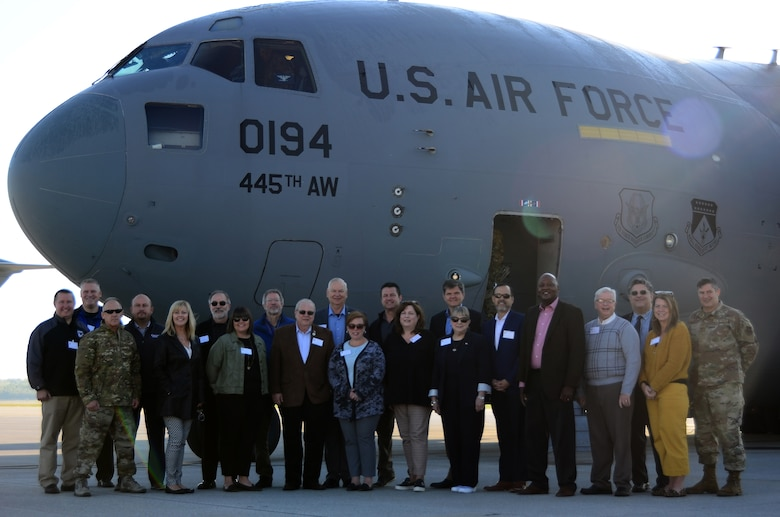 Nineteen Greater Dayton area civic leaders participated in a civic leader tour hosted by the 445th Airlift Wing Oct. 9-10 at both Peterson Air Force Base and the Air Force Academy in Colorado Springs, Colorado. The group left Wright-Patterson Air Force Base onboard one of the wing's C-17 Globemaster IIIs to Peterson Air Force Base, Colorado.