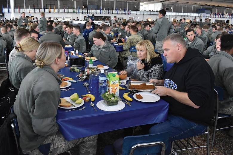 Greater Dayton area civic leaders eat lunch with cadets at the Air Force Academy, Colorado Springs, during a civic leader tour Oct. 10, 2019. Nineteen community leaders participated in the CLT Oct. 9-10, 2019.
