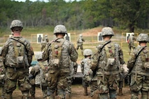 U.S. Army Soldiers assigned to 198th Infantry Battalion conduct 25-meter range movement transition drills during Infantry One Station Unit Training, or OSUT, Oct. 21, 2019, at Fort Benning, Ga. The U.S. Army recently extended Infantry OSUT from 14 weeks to 22 weeks to allow for more in depth training and to better prepare Soldiers before they arrive at their first duty station.